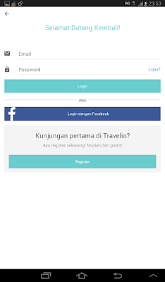 menu login Travelio