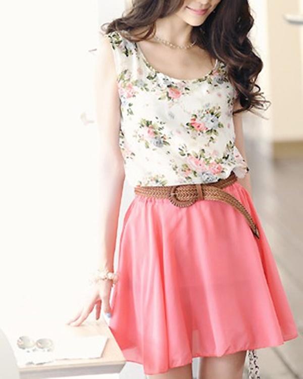 vestido rosa e branco de chiffon para o dia a dia