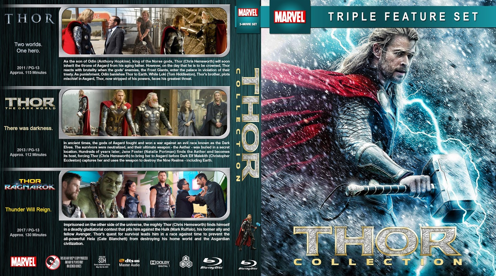 bj share me covers capa blu ray 3 em 1 thor collection 2011 2017. Black Bedroom Furniture Sets. Home Design Ideas