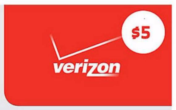 Verizon $5 prepaid data refill card