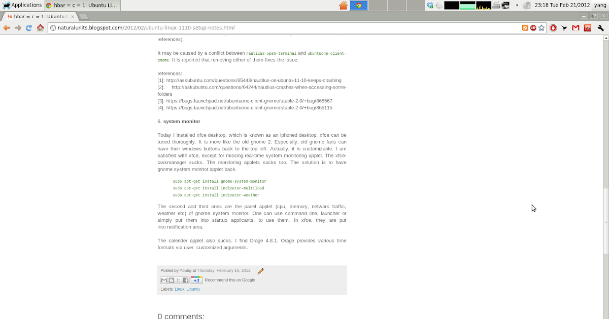 hbar = c = 1$ : Ubuntu Linux 11 10 Setup Notes