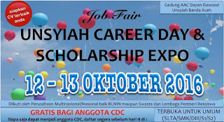JOB FAIR UNSYIAH CAREER DAY & SCHOLARSHIP ( 12 - 13 OKTOBER 2016 )