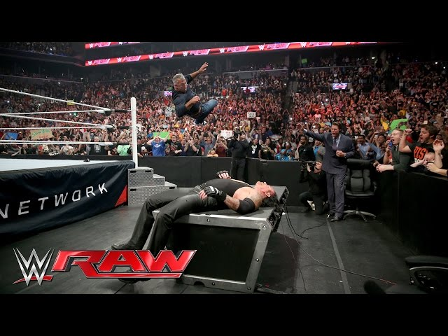 Wrestlemania 32 News Shane McMahon Put Undertaker Through A Table On Monday Night Raw