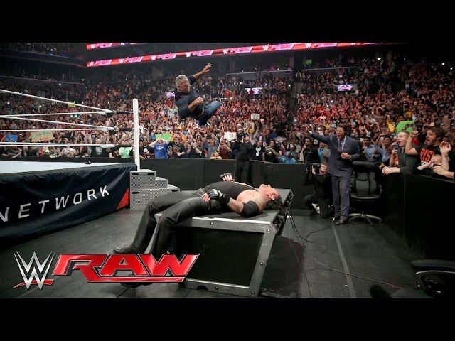 Wrestlemania 32 News Shane McMahon Put Undertaker Through A Table On Monday Night Raw