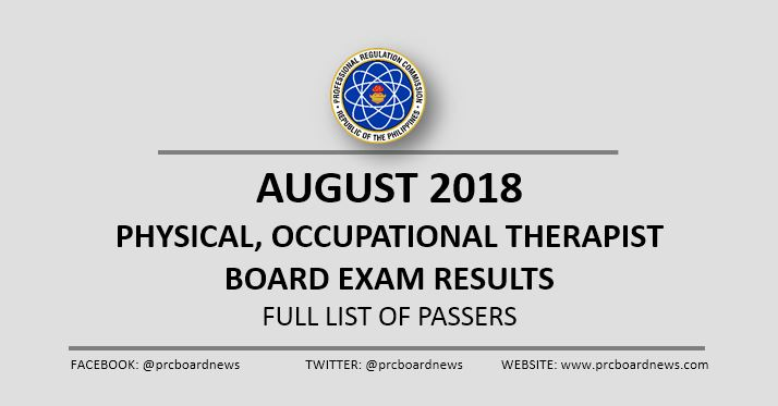 August 2018 Physical, Occupational Therapist PT-OT board exam list of passers