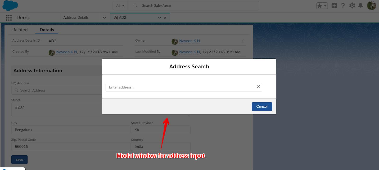 Salesforce and google api integration for address autocomplete