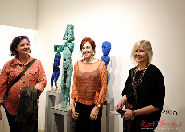L to R Fiona Meller, Sally Simpson and Tracy Lymn at Stanley Street Gallery  Waiting for Hope & Objects for an Unknown Future Museum - Street Fashion Sydney by Kent Johnson.