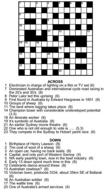 Anzac Day Crossword Puzzles with Answers