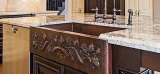 Kombinasi seni batu marmer, Granit dan wastafel tembaga