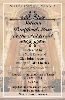 Pontifical Mass at Notre Dame Seminary in New Orleans This Saturday