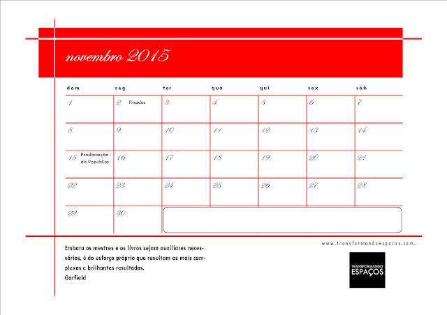 Calendário para organizar os eventos de 2015