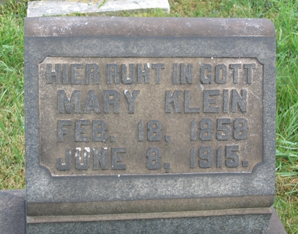 Genealogy and Pittsburgh Headstone of Mary Klein