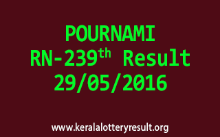 POURNAMI RN 239 Lottery Result 29-5-2016