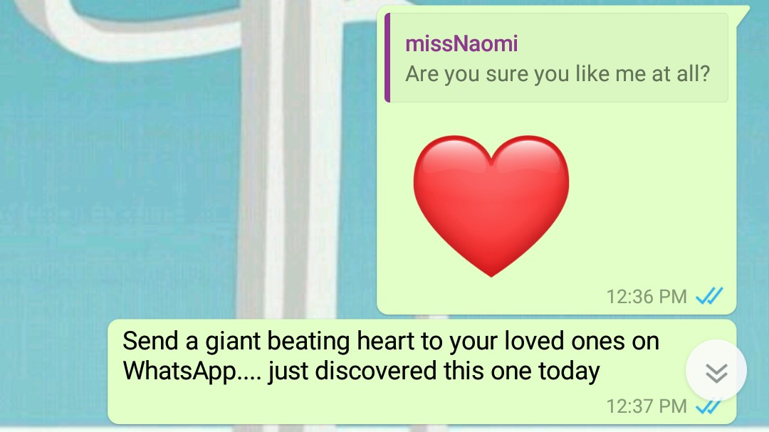 Sending a giant beating heart to someone on WhatsApp