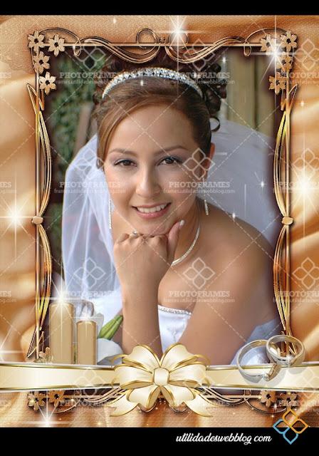 Marco para fotos de bodas color cobre en png