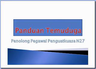 Panduan Temuduga Penolong Pegawai Penguatkuasa KP29