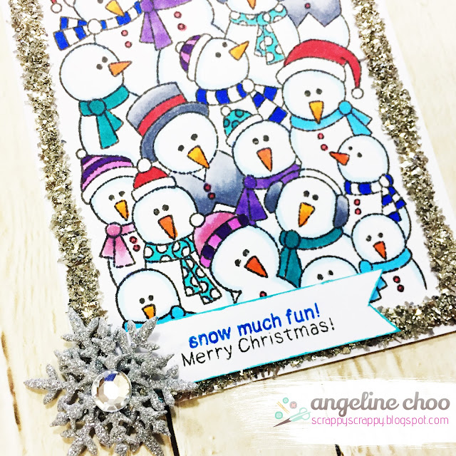 ScrappyScrappy: Frozen Fellowship with Newtons Nook Designs #scrappyscrappy #newtonsnookdesigns #papercraft #card #cardmaking #frozenfellowship #copicmarkers #primamarketing #glassglitter #christmas #christmascard #holiday #snowman