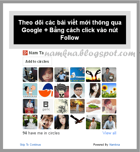 Thêm Google plus follow Popup cho blogspot