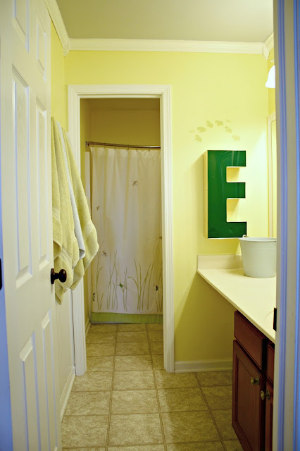 bright yellow bathroom makeover
