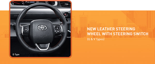 Toyota All New Sienta dilengkapi dengan New Leather Steering wheel with steering switch untuk Toyota All New Sienta tipe Q dan V