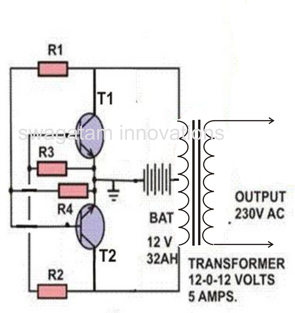 A Simple Inverter Circuit - Circuit diagram of an inverter