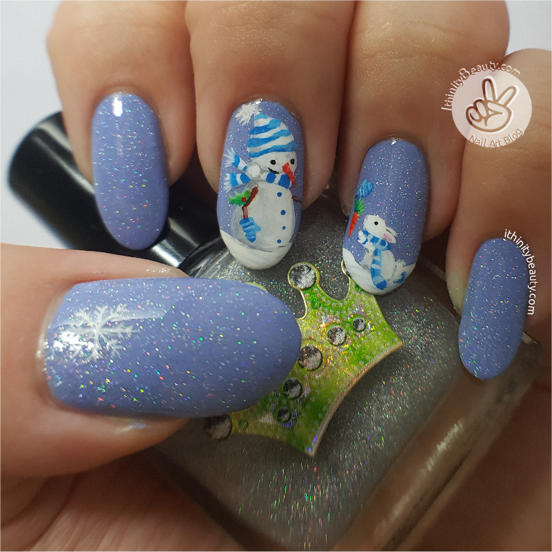 Freehand christmas snowman rabbit holo nail art ithinitybeauty for this manicure i began with my mezmris nail lacquer base coat armor up and once dry i applied two coats of le beaut in no24 in a dusty lilac shade prinsesfo Image collections