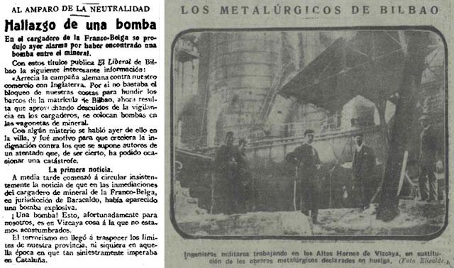 Imágenes de los diarios de 1917 con noticias de Barakaldo