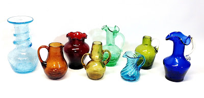 Colorful vintage hand blown windowsill glass