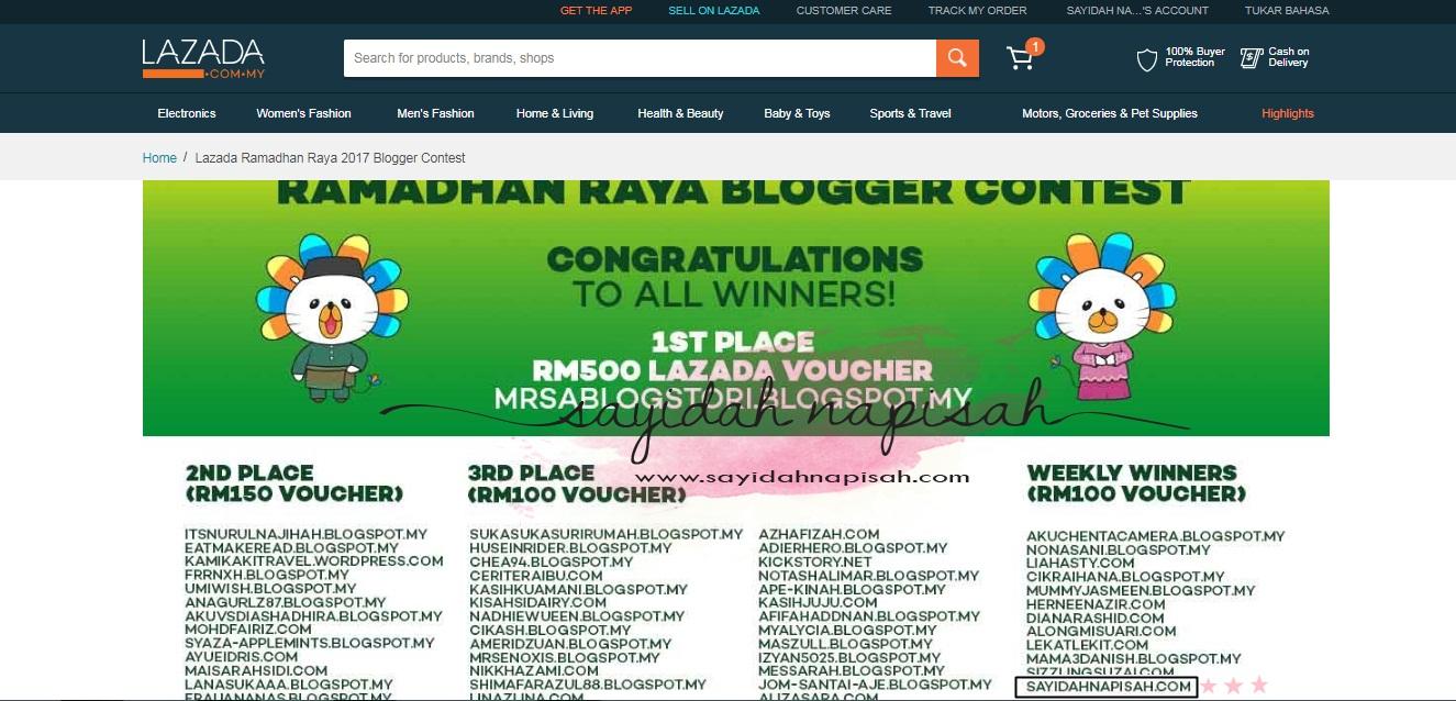 Menang RM100 Voucher Lazada Ramadhan Raya Blogger Contest 2017!