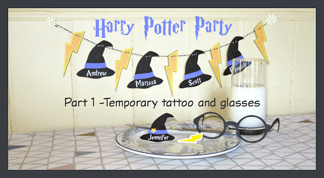 Harry Potter party decorations and temporary lightning bolt scar tattoo