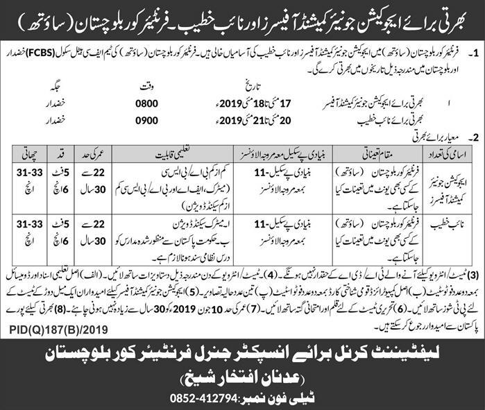 Advertisement of Frontier Corps Balochistan Jobs