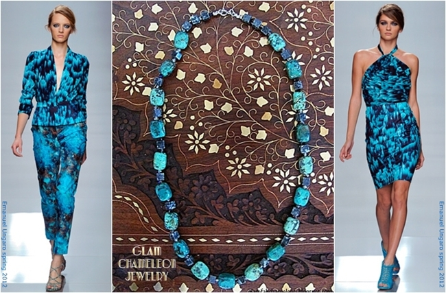 Glam Chameleon handmade jewelry turquoise and agate necklace