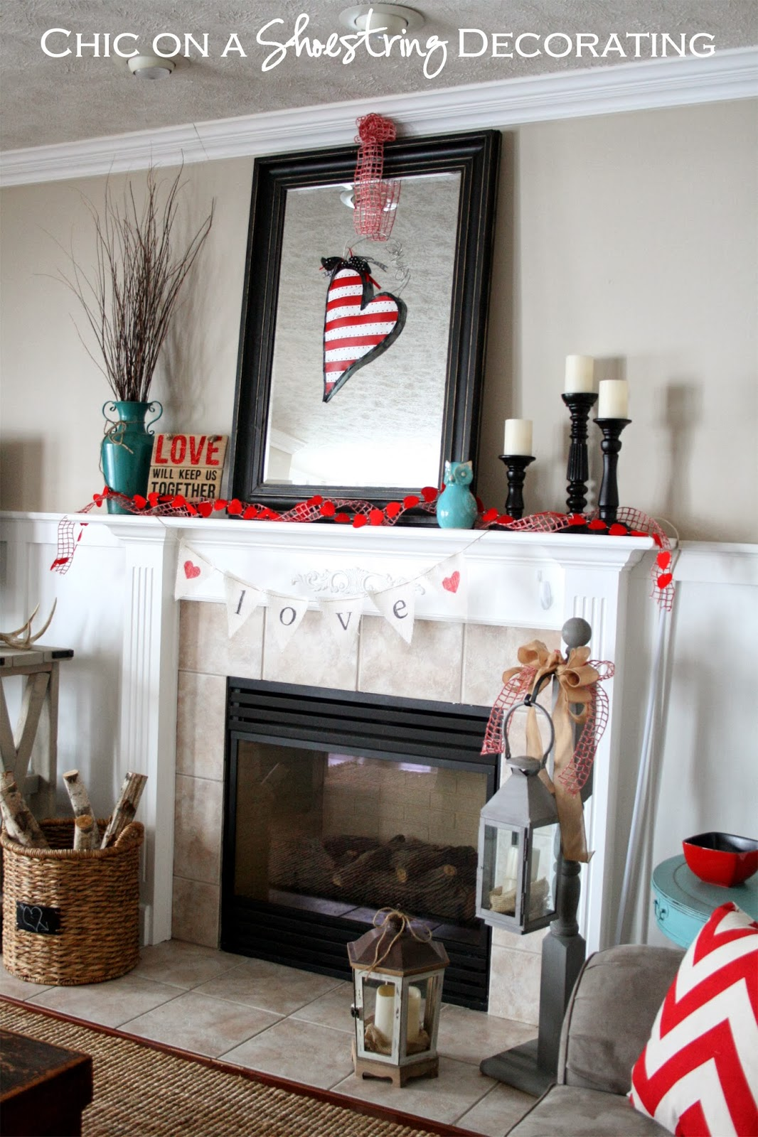Valentine's Day Mantel, Teal & Red by Chic on a Shoestring Decorating