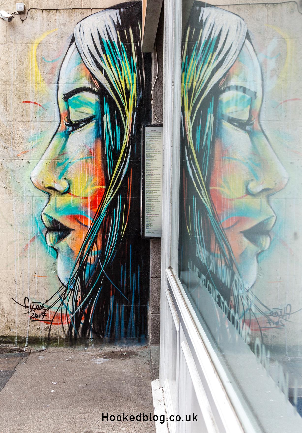 Artist Alice Pasquini at work, Aberdeen Street Art Mural in Scotland. Photo ©Hookedblog /  Mark Rigney