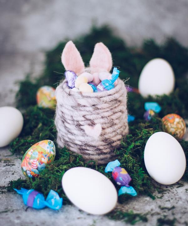 DIY Osternest als Osterhase - Süße Bastel-Idee für Ostern als Geschenk oder Tischdeko. titatoni.de