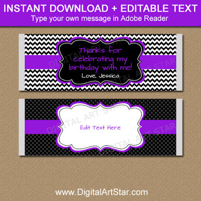 girl birthday candy bar wrappers in purple and black - use them as easy party favors