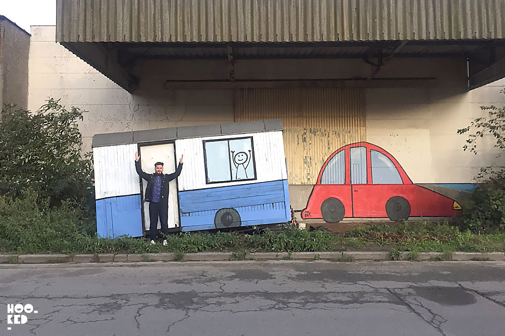 Ghent Street Art by French Street Artist OAKOAK with Mark RIgney in front of the work.