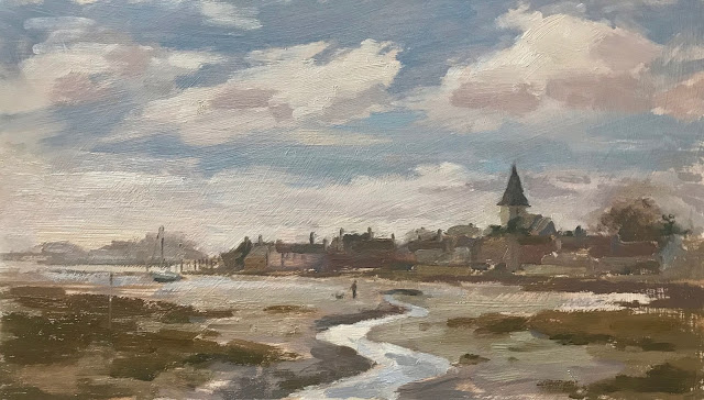 #314 'Low Tide Crossing, Bosham' 8×14″ & When to Scrap a Painting!
