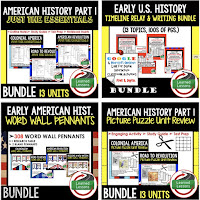 American History Timelines, American History Word Walls, American History Test Prep, American History Outline Notes, American History by President Research, American History Mapping Activities, American History Biography Profiles, American History Interactive Notebooks