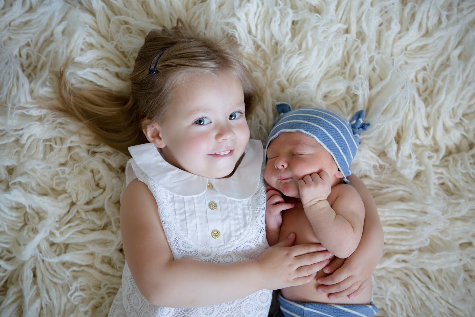 big sister little brother newborn photo session