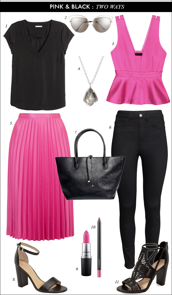 casual spring outfit, summer outfit, bridal shower outfit, pink and black, pink pleated skirt