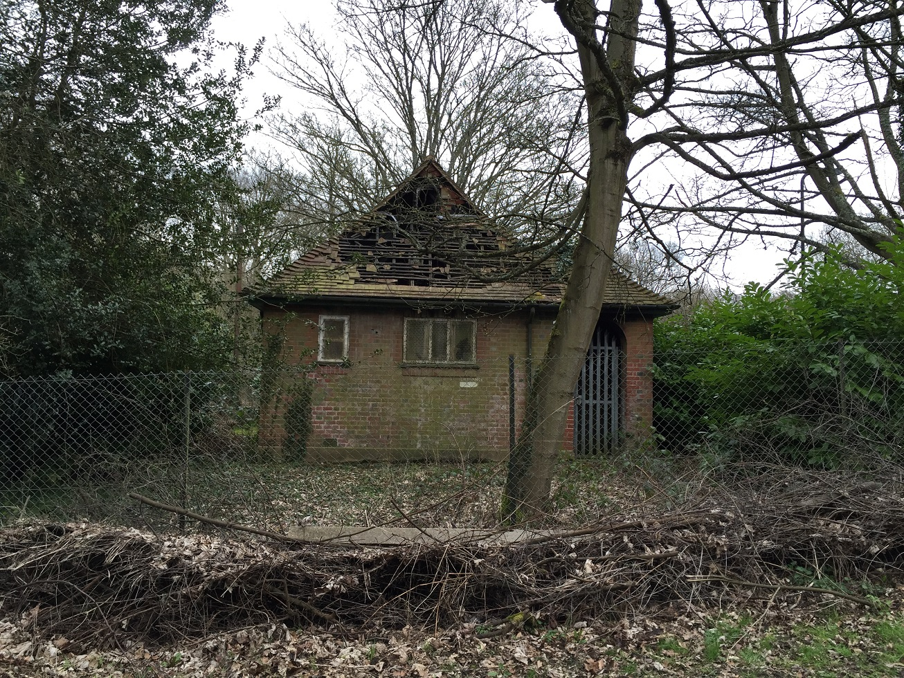 Derelict building, near Bentley Priory