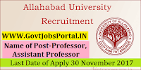 Allahabad University Recruitment 2017–92 Professor, Assistant Professor