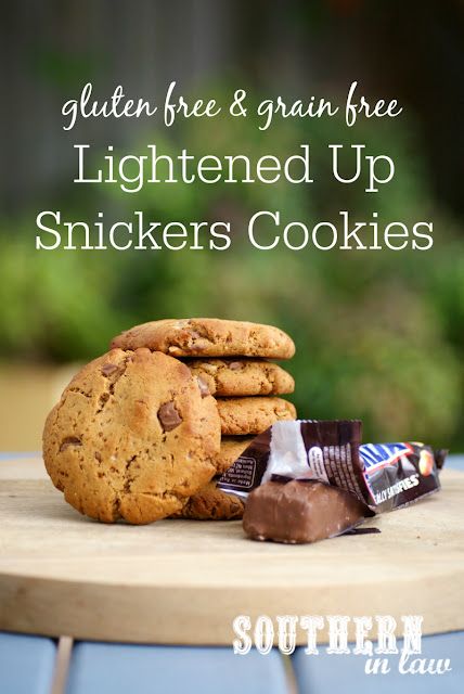 Healthier Lightened Up Snickers Cookies Recipe - low fat, low sugar, refined sugar free, flourless, grain free, gluten free, healthy, homemade snickers peanut butter cookies