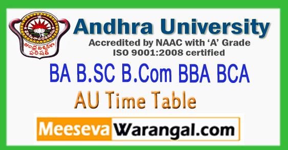 Andhra Univeristy BA B.SC B.Com BBA BCA 1st 3rd 5th Semister Time Table 2017