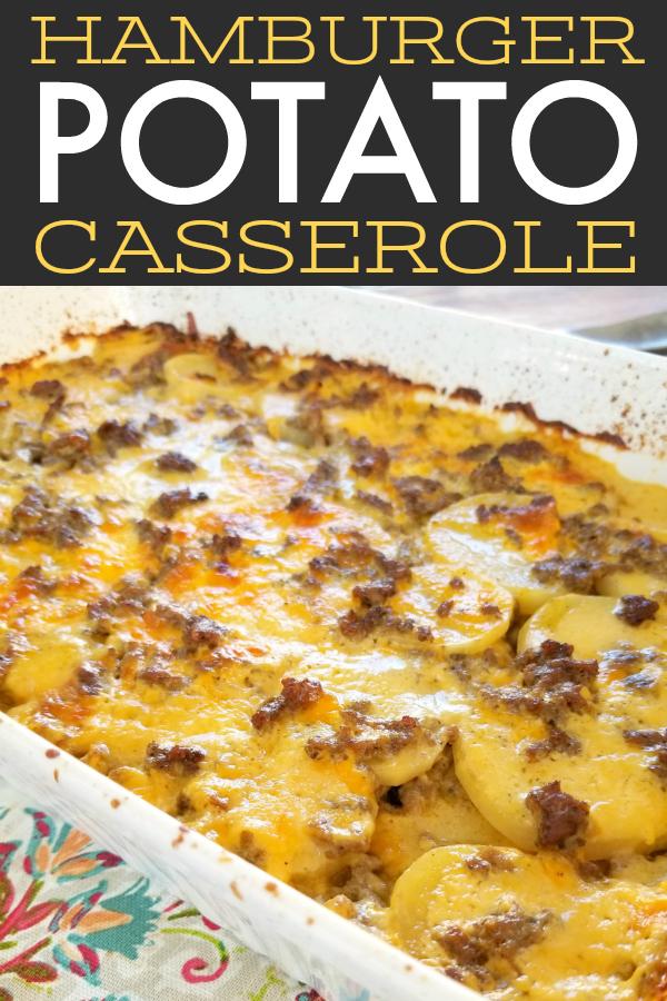 Hamburger & Potato Casserole | An easy casserole recipe with ground beef, cheese and potatoes like a meaty potatoes au gratin or cheesy scalloped potatoes with hamburger.