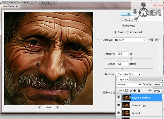 filter sharpen smart sharpen - tutorial cara membuat efek smudge painting di photoshop