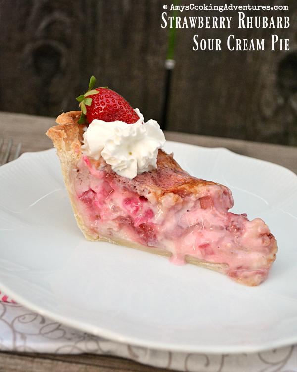 Strawberry Rhubarb Sour Cream Pie