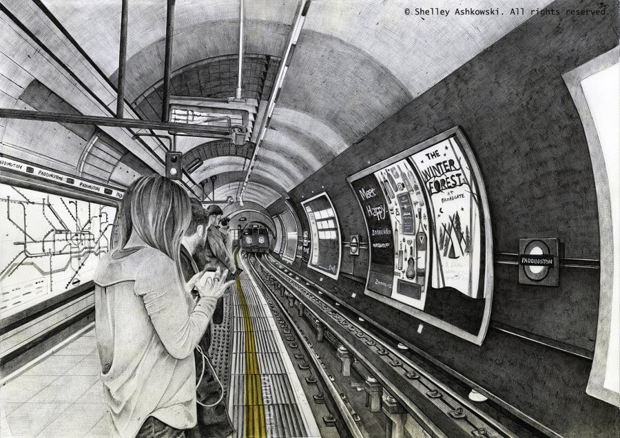 06-Mind-the-Gap-S-Ashkowski-Cities-and-Landmarks-Ballpoint-Pen-Drawings-www-designstack-co