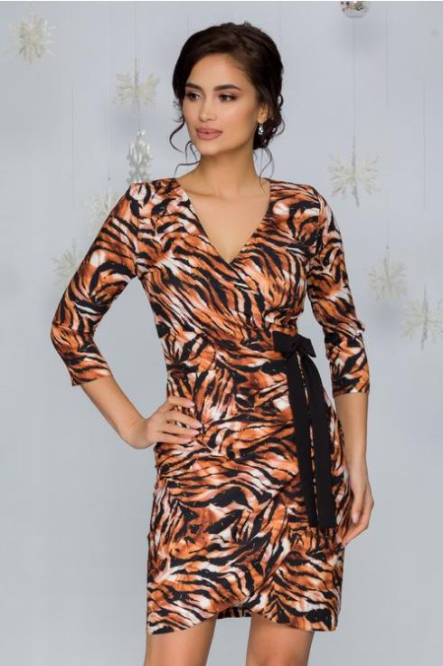 Rochie scurta de zi ieftina  la moda cu animal print si funda in talie